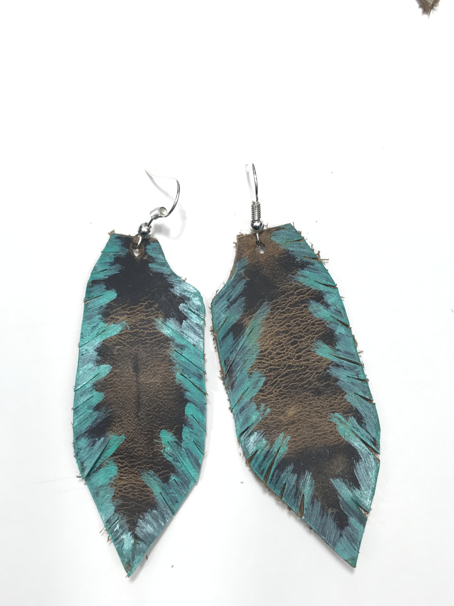 e painted aluminum products hand rose cut feather brass earrings gold img leather chains original